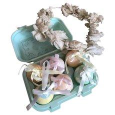 Bella Bordello 6 Vintage Pastel Paper Mache Easter Egg Ornaments In A Bunny Carton