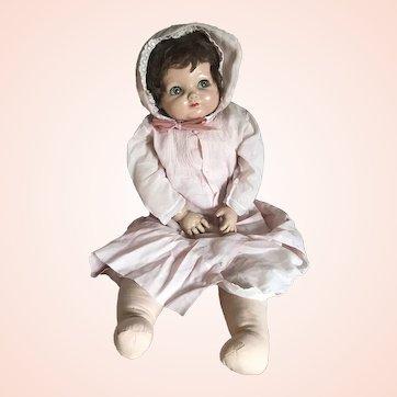 "23"" Vintage Composition Baby Doll Green Sleep Eyes Dress Brown Hair Effanbee"