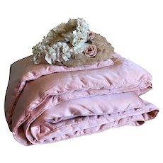 Bella Bordello Vintage Pink Satin Quilted Eiderdown Comforter Blanket Quilt