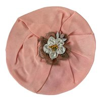 Antique 1920's Flapper Applique Peach Silk Ribbonwork Medallion Metallic Passementerie Lace