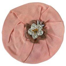 Antique 1920's Flapper Applique Peach Silk Ribbonwork Medallion Metallic Passementerie Lace