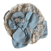 Bella Bordello Antique Boudoir Applique Blue Silk Rosette Lace