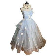 Bella Bordello Romantic Vintage Mid Century 1950's Baby Blue Tulle Lace Prom Dress Lace Berry Appliques