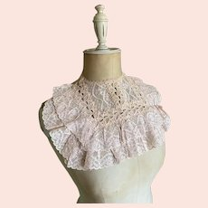 Bella Bordello Lovely Vintage Pink Lace Ruffled Collar Shabby Chic