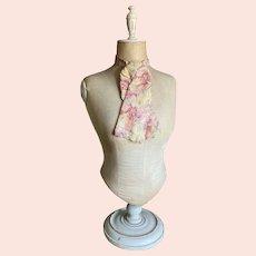 Bella Bordello Antique Mens Collar Necktie Tie c1850 Civil War Era Pink Yellow Silk Labeled Lorsch Bros