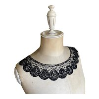 Bella Bordello Antique Intricate Black Bobbin Lace Collar
