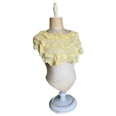 Bella Bordello Antique Vintage Collar Yellow Ruffles Tulle Lace Salvaged From Dress