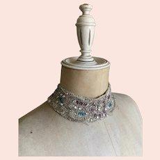 Bella Bordello Vintage Collar From Costume Beaded Rhinestones Silver Lame Type