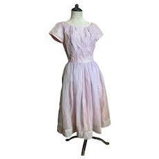 Bella Bordello Romantic Vintage Mid Century 1950's Lilac Lavender Prom Dress Lace Shabby Chic