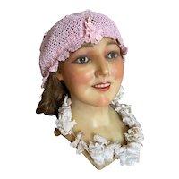 Bella Bordello Vintage 1920's Lace Boudoir Night Bonnet Cap Hat Pink Lace Crochet
