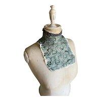 Bella Bordello Antique Collar Bib Embroidered Green Lace Salvaged From Victorian Bodice