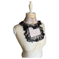 Bella Bordello Antique Black Lace Collar Faded Dusty Lavender Silk From Victorian Bodice