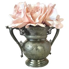 Bella Bordello Stunning Antique Silver Plate Marked Rogers & Bro Triple Plate Stamped Vase Double Handle Heavily Engraved Bird Floral
