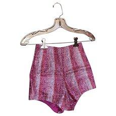 Bella Bordello AMAZING Vintage Dance Burlesque Costume Shorts Tap Pants Pink Ombré Stripe Tinsel