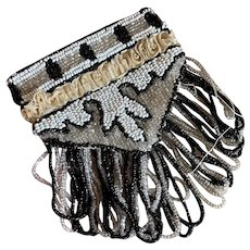 Bella Bordello Antique Flapper Coin Purse Bag Beaded Art Deco Fringe Ruched Silk Band