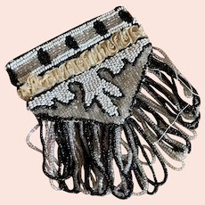 Bella Bordello Antique Flapper Coin Purse Bag Beaded Art Deco Fringe Ruched Silk Band