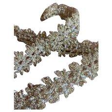 Bella Bordello Vintage Ribbon Trim Silver Metallic Glitter Sparkle