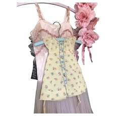 Bella Bordello Vintage Seersucker Yellow Pink Blue Floral Doll Dress Mother of Pearl Buttons