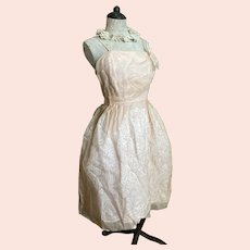 Bella Bordello Romantic Vintage Mid Century 1950's Pale Pink White Ghost Lace Under Organdy Prom Dress Bows Original Tag