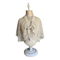 Bella Bordello Antique Edwardian Shrug Cape Embroidered Floral Ecru Lace Ribbonwork Bow