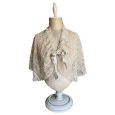 Bella Bordello Antique Edwardian Shrug Cape Embroidered Floral Ecru Lace Ribbonwork Bow