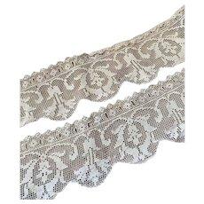 Bella Bordello Antique White Filet Lace Trim Floral Scalloped Ribbon Insert Slits