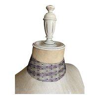 Bella Bordello GORGEOUS Antique Collar Pastel Lavender White Stripe Polka Dot Lace
