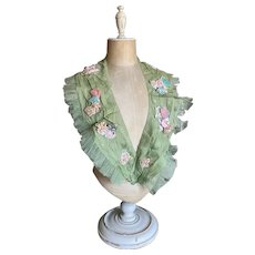 Bella Bordello Vintage Costume Ribbonwork Sash Ballet Opera Green Organdy Ruffled Tulle