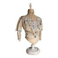 STUNNING Antique Bodice Ivory Silk Polka Dot Lace Insert Collar Bib Heavily Beaded Marked PERRY