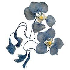 Vintage Set Flapper Era Curtain Tie Backs Blue Organdy Millinery Flowers Yellow Bud Stamen Silk Tassels