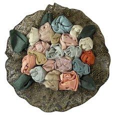 Stunning Antique Silk Ribbonwork Applique Passementerie Metallic Lace Trim