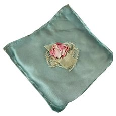 Vintage 1920's Flapper Era Blue Silk Ribbonwork Lace Sachet