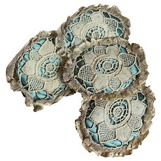 Collection 4 Antique Petite Cushions Peacock Blue Silk Floral Lace