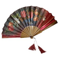 Antique French Hand Painted Silk Fan Red Roses Bird Tassel