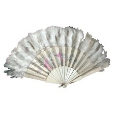 Bella Bordello Antique Hand Fan Silk Feathers Hans Painted Pink Shabby Chic Flowers