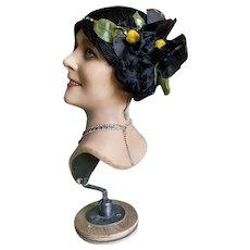 Bella Bordello RARE Antique 1920's Flapper Wig Hair Cloche Black Silk Floss Millinery Flower Gold Lame Band Rhinestones
