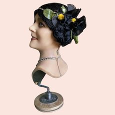 Bella Bordello RARE Antique 1920's Flapper Wig Hair Cloche Black Silk Floss Millinery Flower Gold Lame Band Rhinestones