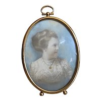Bella Bordello Antique Hand Tinted Pastel Photo Portrait Woman in Lace Bodice in Gold Tone Pocket Watch Frame