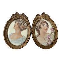 Bella Bordello Pair Antique Mini Porcelain Hand Painted Signed woman Portraits Gold Gesso Barbola Bow Frames