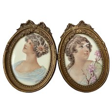 Bella Bordello Pair Antique Mini Porcelain Hand Painted Signed woman Portraits Gold Gesso Barbola Bow Frames