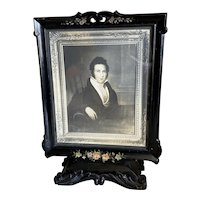 Bella Bordello Antique Victorian Black Laquer Wood Double Sided Swivel Frame With Glass Hand Painted Pink Flowers