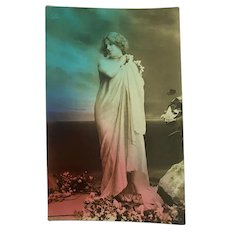 Antique French Postcard Edwardian Woman Draped In Sheet Flowers Blue Pink Ombre