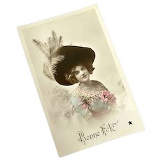 Antique French Postcard Young Woman Pink Blue Dress Millinery Flower Large Black Hat Feathers