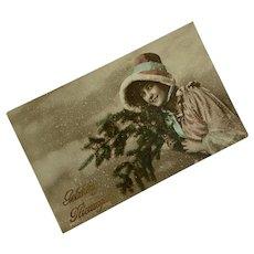 Antique French Postcard Winter Season Christmas Woman Cape Fur Bonney Blue Ribbon Bow Tree Wreath Bouquet Snow
