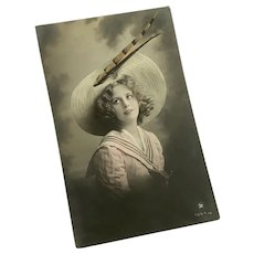 Antique French Postcard Young Girl Pink Tint Sailor Dress Wide Brim Straw Hat Pheasant Feather Millinery