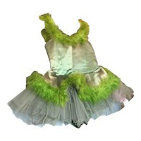 Bella Bordello Vintage Childs Green Satin Ballet Tutu Costume Feathers