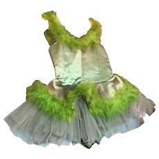 Bella Bordello Vintage Childs Green Satin Ballet Tutu Costume Feathers