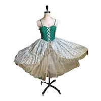Bella Bordello Vintage Ballet Tutu Costume Dress Green Pink Corset Ribbon Floral  Gauze Lace