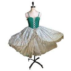 Bella Bordello Vintage Ballet Tutu Costume Dress Green Pink Corset Ribbon Floral  Gauze Lace