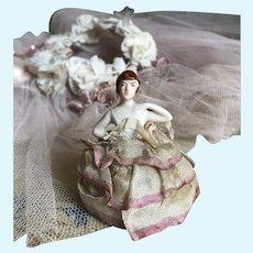 Bella Bordello Antique French Petite Half Doll Pin Cushion Boudoir